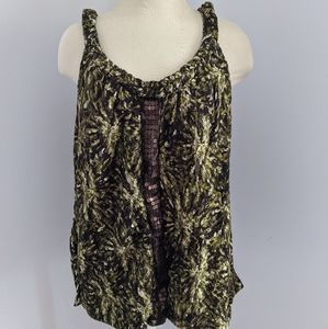 Fashion bug green and brown sequined tank